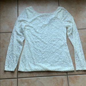 3/$30 WHBM Cream Lace Stretch Long Sleeve Top SM